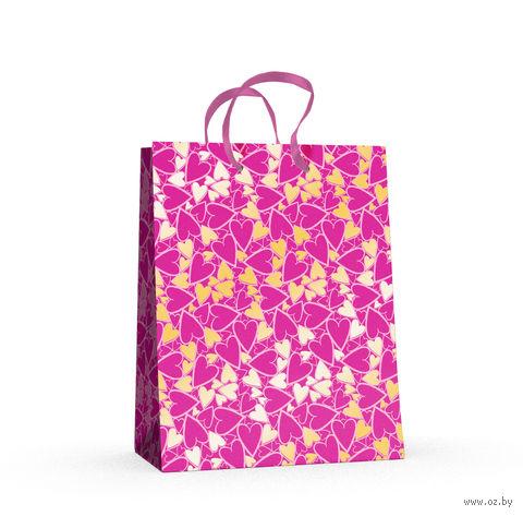 """Пакет бумажный подарочный """"Сердечки"""" (17,8x22,5x10,2 см) — фото, картинка"""