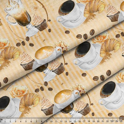 """Ткань """"Кофе-тайм"""" (48х50 см; арт. AM657001) — фото, картинка"""