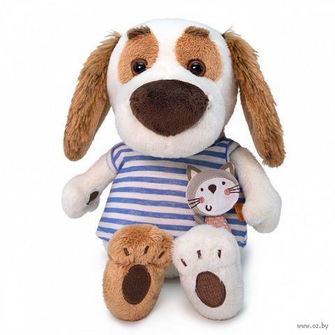"""Мягкая игрушка """"Бартоломей в футболке с кошечкой"""" (20 см) — фото, картинка"""