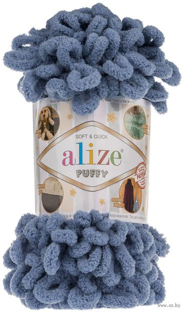 "Пряжа ""ALIZE. Puffy №374"" (100 г; 9,2 м; голубой) — фото, картинка"