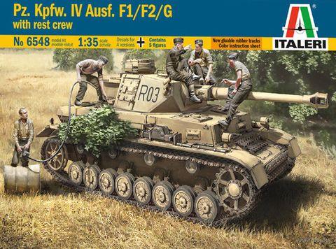 "Сборная модель ""Танк Pz. Kpfw. IV Ausf. F1/F2/G с фигурками экипажа"" (масштаб: 1/35) — фото, картинка"