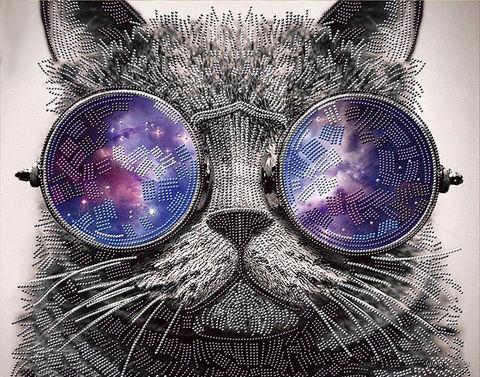 """Алмазная вышивка-мозаика """"Кот в очках"""" (500х400 мм) — фото, картинка"""