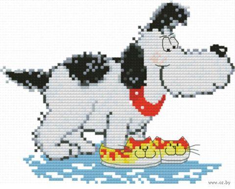 "Вышивка крестом ""Домашний пёс"" (120х150 мм) — фото, картинка"