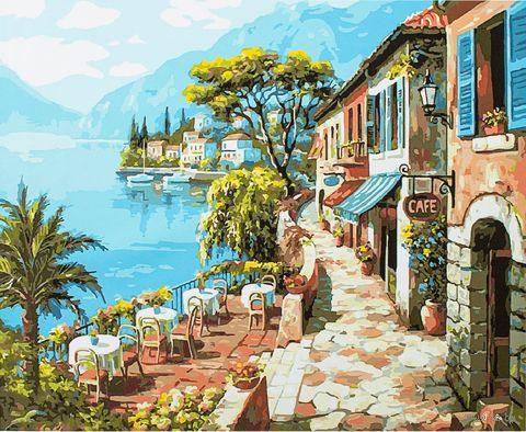"Картина по номерам ""Прибрежное кафе"" (400х500 мм) — фото, картинка"