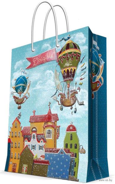"""Пакет бумажный подарочный """"Дирижабли"""" (17,8х22,9х9,8 см; арт. 43518) — фото, картинка"""