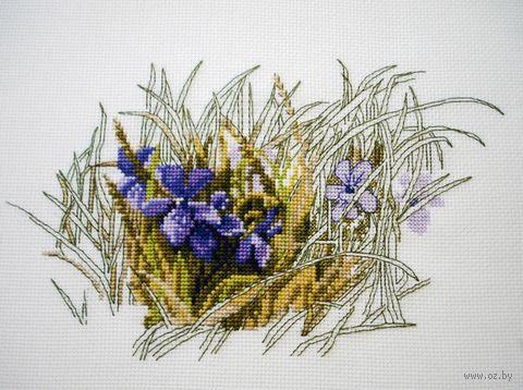 "Вышивка крестом ""Фиалки"" (200х110 мм) — фото, картинка"