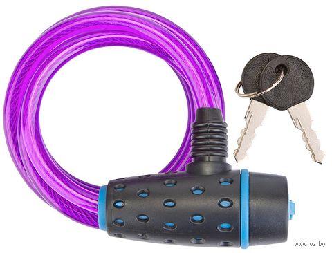 """Велозамок на ключ """"87318"""" (180 см; чёрный/синий/пурпурный) — фото, картинка"""