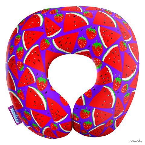 """Подушка под шею """"Сочный арбуз. Маленький"""" (29х29 см; фиолетовая) — фото, картинка"""