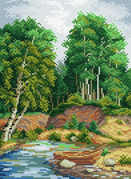 """Вышивка крестом """"У берега реки"""" (250х180 мм) — фото, картинка"""