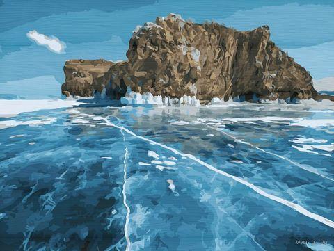 "Картина по номерам на деревянном холсте ""Озеро Байкал"" (400х500 мм) — фото, картинка"