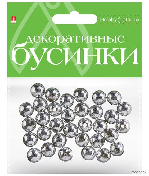 Набор бусин декоративных (10 мм; серебряные) — фото, картинка