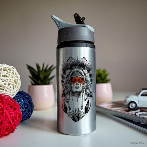 """Бутылка для воды """"Девушка в роуче"""" (600 мл; металлик) — фото, картинка"""