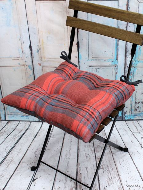 """Подушка на стул """"Шотландка"""" (42х42 см; терракотовая) — фото, картинка"""