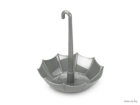 Подставка под канцелярские принадлежности в форме зонтика, с шариковой ручкой (серебристая)