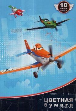 """Бумага цветная """"Disney. Самолеты"""" (10 листов, 10 цветов)"""