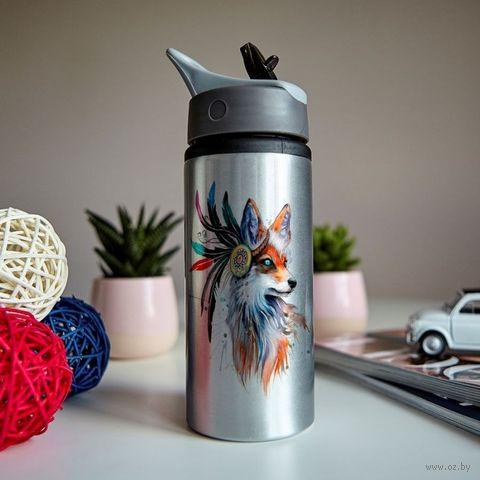 """Бутылка для воды """"Акварельная лиса"""" (600 мл; металлик) — фото, картинка"""