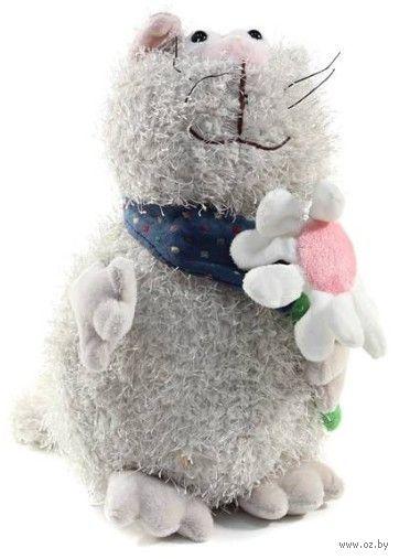 """Мягкая игрушка """"Кот серый с цветком"""" (23 см) — фото, картинка"""