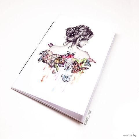 """Блокнот белый """"Девушка с бабочками"""" А6 (717)"""