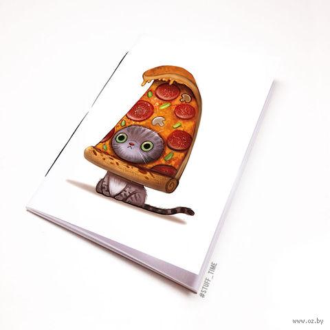 """Блокнот белый """"Кот-пицца"""" А6 (954)"""
