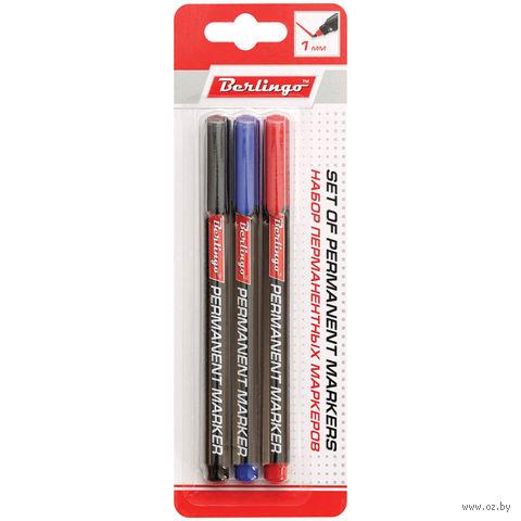 Набор перманентных маркеров (3 цвета; 1 мм)
