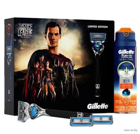 """Подарочный набор """"Fusion Proshield Chill"""" (станок для бритья, 3 сменные кассеты, гель для бритья) — фото, картинка"""