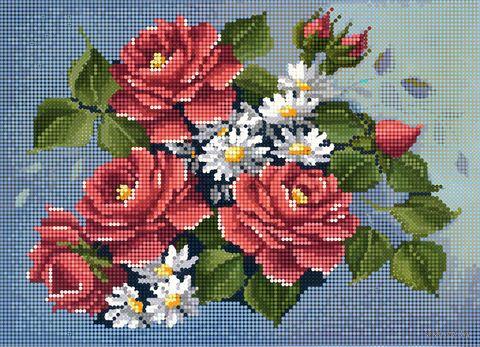 """Алмазная вышивка-мозаика """"Розы и ромашки"""" (360х260 мм) — фото, картинка"""
