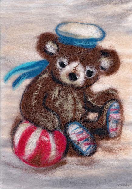 """Картина из шерсти """"Мишка морячок"""" — фото, картинка"""