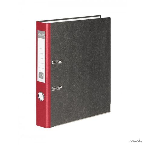Папка-регистратор А4 с арочным механизмом VauPe (картонная; цвет: серый мрамор/красный корешок; 70 мм)