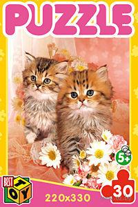 """Пазл """"Котята с цветами"""" (30 элементов) — фото, картинка"""