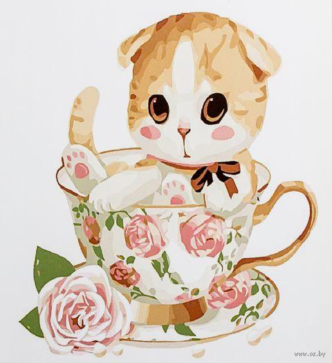"Картина по номерам ""Котенок в чашке"" (300х300 мм; арт. PC3030004) — фото, картинка"