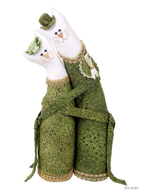 """Набор для шитья из ткани """"Коты-обнимашки. Изумрудные"""" — фото, картинка"""