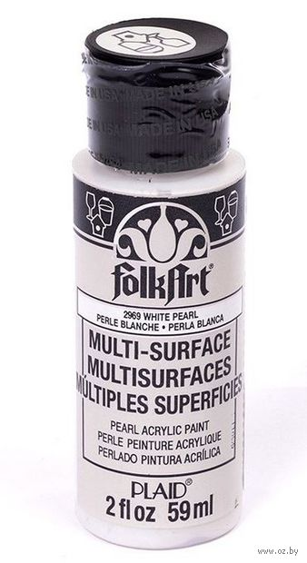 "Краска акриловая ""FolkArt Multi-Surface"" (перламутровый белый, 59 мл; арт. PLD-02969)"