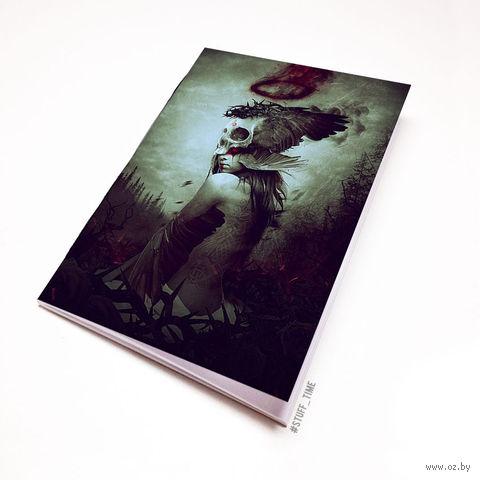 """Блокнот белый """"Девушка с черепом"""" А5 (арт. 972)"""