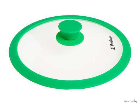 Крышка стеклянная с силиконовым ободом (24 см; темно-зеленый) — фото, картинка