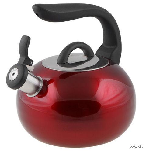 Чайник металлический со свистком (2,7 л; красный металлик) — фото, картинка