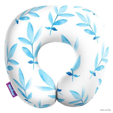 """Подушка под шею """"Листочки. Большие листья"""" (34х34 см; белая) — фото, картинка"""