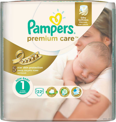 "Подгузники ""Pampers Premium Care Newborn"" (2-5 кг, 22 шт)"