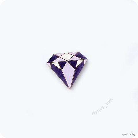 """Значок деревянный """"Фиолетовый алмаз"""" (арт. 057) — фото, картинка"""