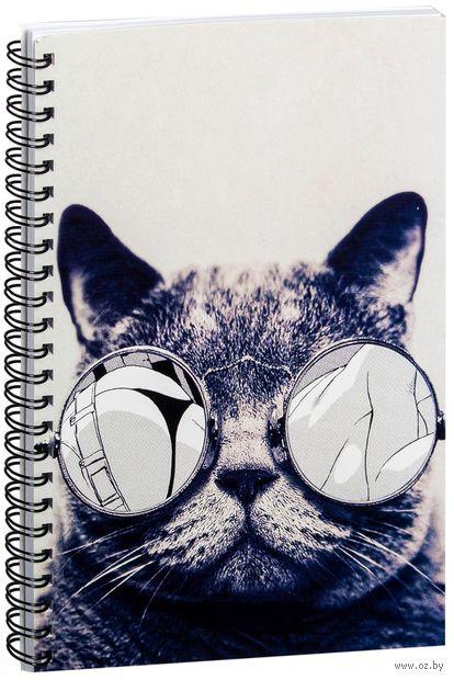 """Блокнот в клетку """"Кот в очках"""" (A5; арт. 812) — фото, картинка"""