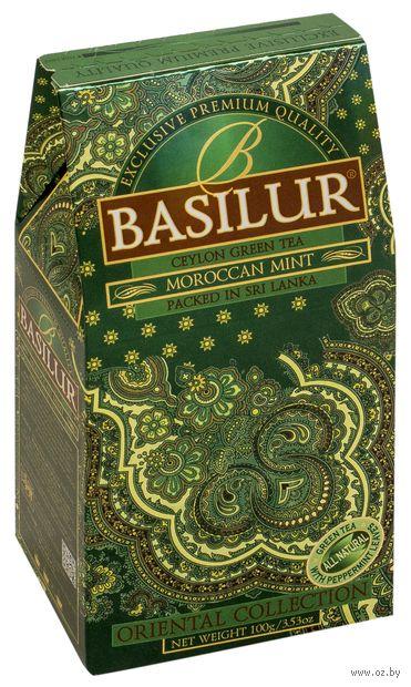 """Чай зеленый листовой """"Basilur. Марокканская мята"""" (100 г) — фото, картинка"""
