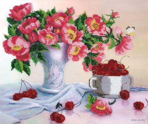 """Вышивка бисером """"Цветы с черешней"""" (360х300 мм) — фото, картинка"""