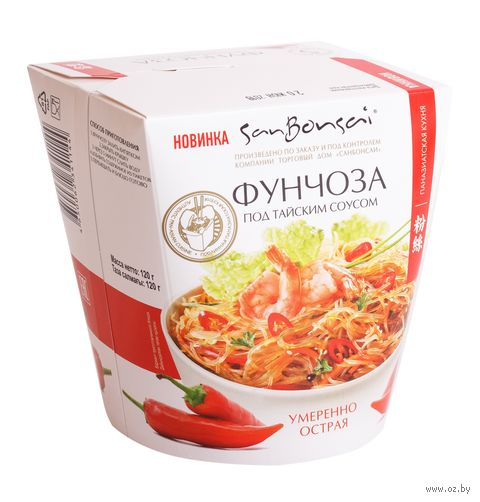 """Вермишель быстрого приготовления """"SanBonsai. Фунчоза под тайским соусом"""" (120 г) — фото, картинка"""