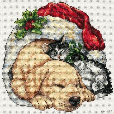 """Вышивка крестом """"Щенок и котёнок рождественским утром"""" (150х150 мм) — фото, картинка"""