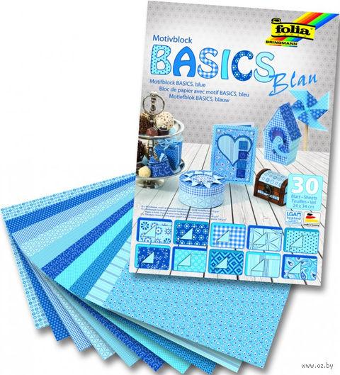 """Набор дизайнерского картона """"Базовый голубой"""" (240х340 мм; 30 листов)"""