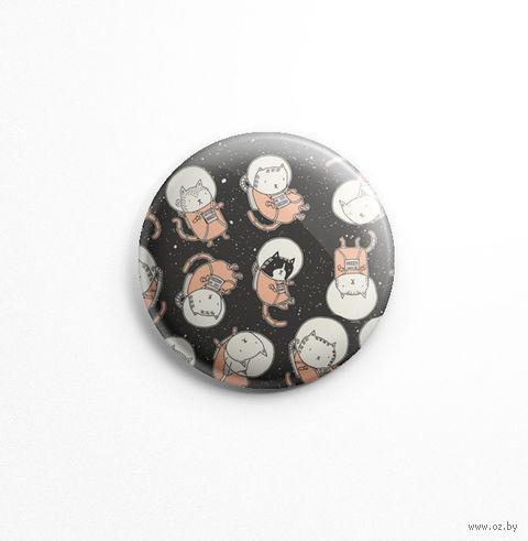 "Значок маленький ""Коты-космонавты"" (арт. 295) — фото, картинка"