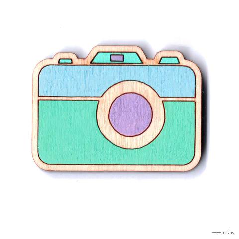 """Значок деревянный """"Фотоаппарат"""" (мятно-голубой) — фото, картинка"""