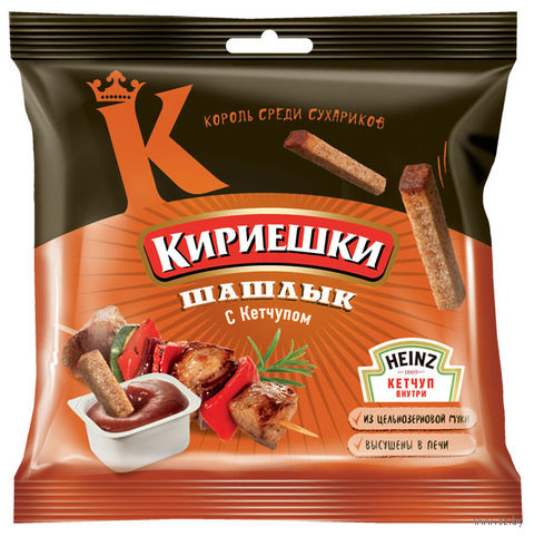 """Сухарики ржаные """"Кириешки"""" (60 г; томатный соус и шашлык) — фото, картинка"""