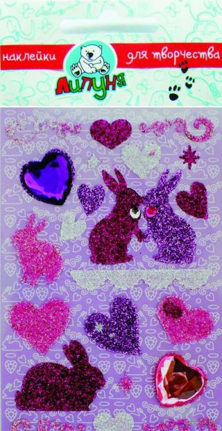 """Наклейки блестящие """"Зайцы с сердцами"""""""