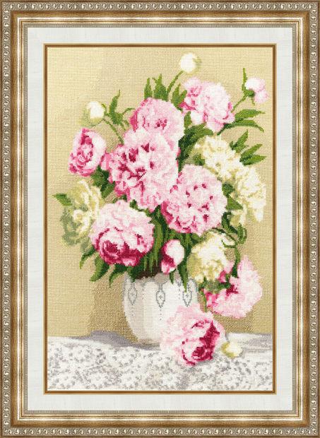 """Вышивка крестом """"Розовые пионы"""" (390х255 мм) — фото, картинка"""