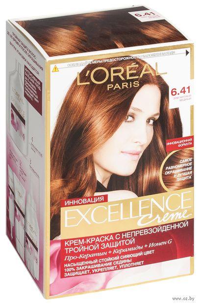 """Крем-краска для волос """"Excellence"""" (тон: 6.41, медный темно-русый пепельный) — фото, картинка"""